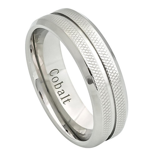 High Polished Grooved Center Cobalt Ring.