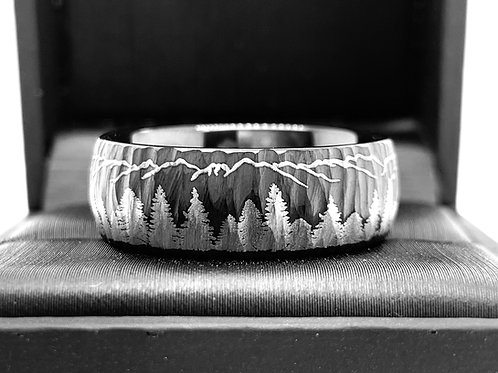 Tungsten Ring, Mens Wedding Band, Women Ring, Black Hammered Wedding Bands, Engagement Ring, Fir Trees and Mountains Pattern