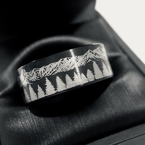 Black Brushed  Tungsten Wedding Band,  Fir Trees in Mountains Range Wedding Ring