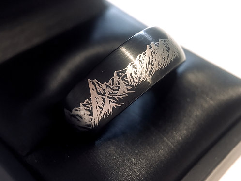 Custom Laser Engraving, Mountains Ring, Wedding Ring, Wedding Bands , engagement Ring , Mens ring, Nature Ring, Hunter ring