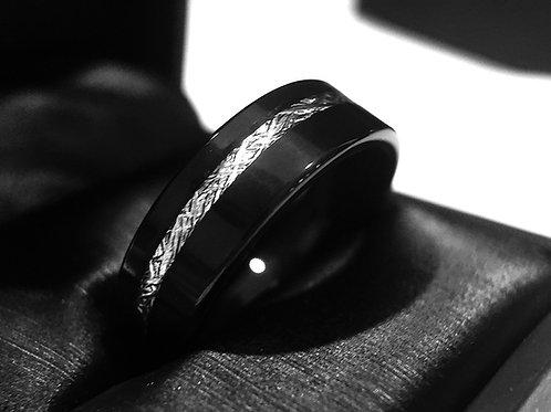 Matching Rings Set, Black Tungsten Wedding Bands, Black Meteorite Ring
