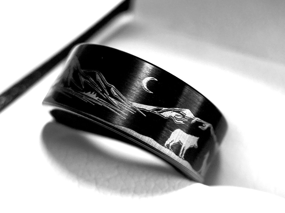 Wolf Facing Fox Black Tungsten Ring His And Her Wedding Band Wold And Fox Ring
