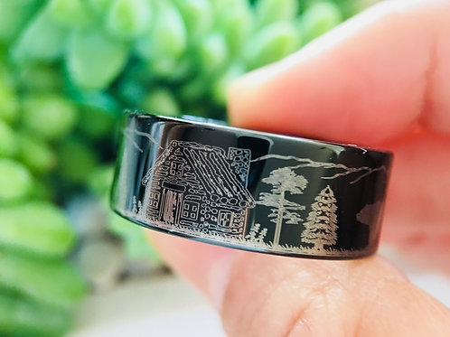 Bears in the Forest Ranch House Pattern Engraved Tungsten Ring