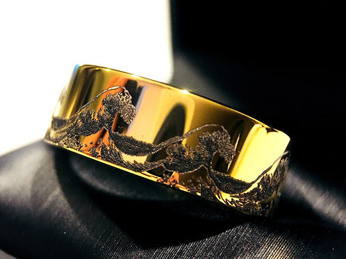 Yellow Gold Tungsten Carbide Ring, Ocean Wave Pattern Engraved Mens Women Ring