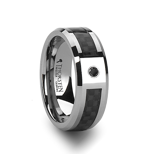 Tungsten  Ring, Black Carbon Fiber, Black Diamond