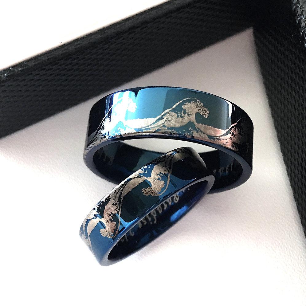 matching rings matching wedding bands ocean wave ring tungsten wedding bands lunamur. Black Bedroom Furniture Sets. Home Design Ideas