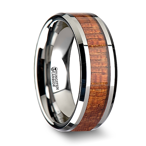 Tungsten Wedding Band, Exotic Mahogany Wood  6-8mm
