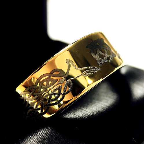 Yellow Gold Wedding Bands, Yellow Gold Tungsten Rings, Claddagh Ring, Celtic Jewelry, Mens Celtic Ring by Rings Paradise