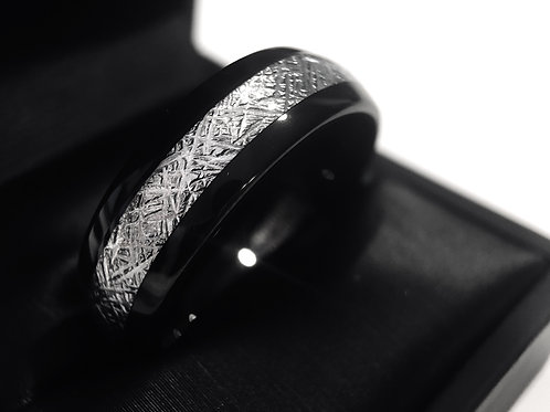 Black Meteorite Ring, Tungsten Wedding Bands, Matching Rings Set