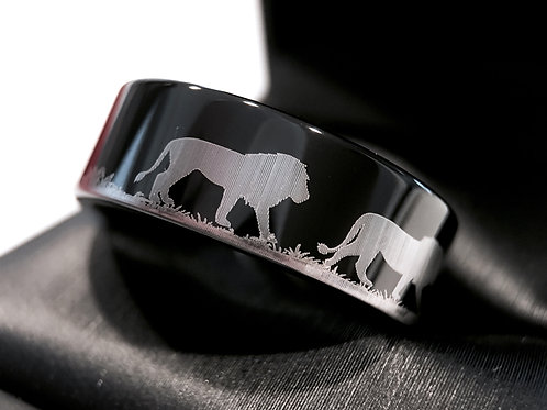 Black Wedding Band, Mens Tungsten Ring, Men Engagement Ring, His Promise Ring, Lions Engraved Ring, Anniversary Ring, Bands