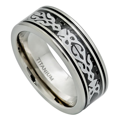 Titanium Ring, Stainless Steel Fancy Tribal Design
