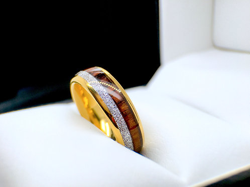 Yellow Gold Tungsten Ring, Wood and Meteorite Inlay Mens and Women Wedding Ring