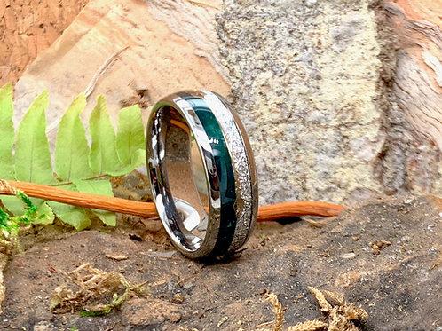 Tungsten Green Agate Meteorite inlay Ring, Mens Ring, Women Wedding Band - 8mm