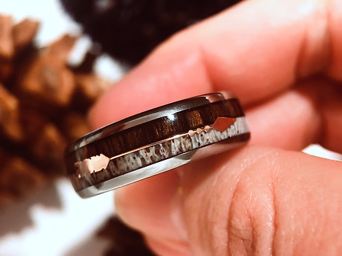Arrow Inlay Tungsten Carbide Ring, Wooden Ring, Deer Ring, Antler Ring, Wedding Bands by Rings Paradise online Jewelry Store