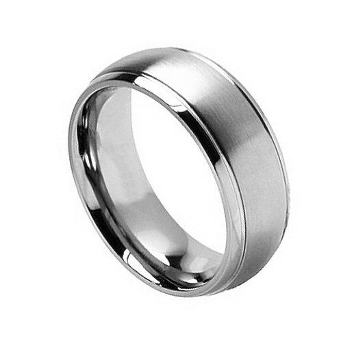 Titanium Ring Brushed Center 8mm