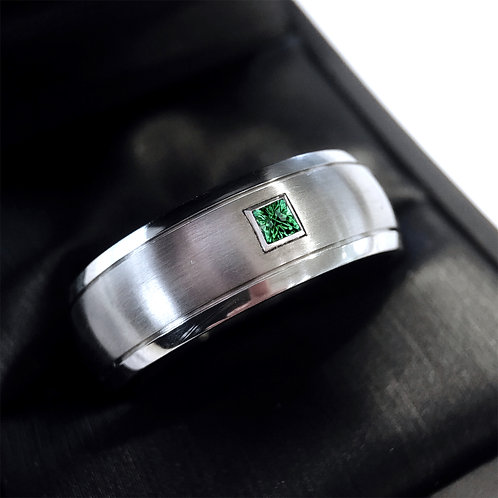 Mens Engagement Ring, Emerald Ring, Titanium Ring, Wedding  Ring, Mens Ring