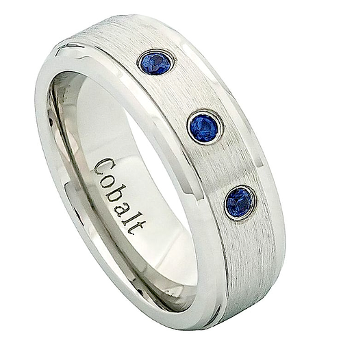 Cobalt Ring with Blue Sapphire Stones 7mm