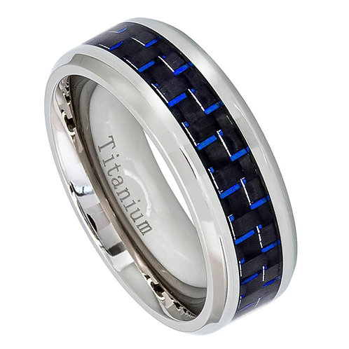 Titanium Ring with Blue Carbon Fiber Inlay 8mm