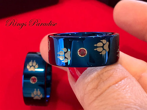 Wolf Foot Print Ring, Blue Tungsten Wedding Bands, Tungsten Rings