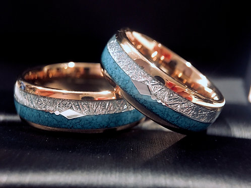 Turquoise Ring , Meteorite Ring, Wedding Bands, Mens Tungsten Ring, Tungsten Carbide Ring, Promise Ring, Engagement Ring