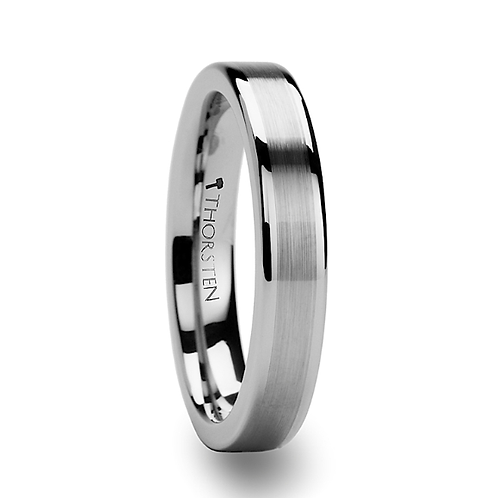 Flat Tungsten Ring with Brush Center Stripe 4mm