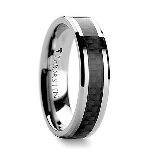 Tungsten Band Black Carbon Fiber Inlay 4 mm-12 mm