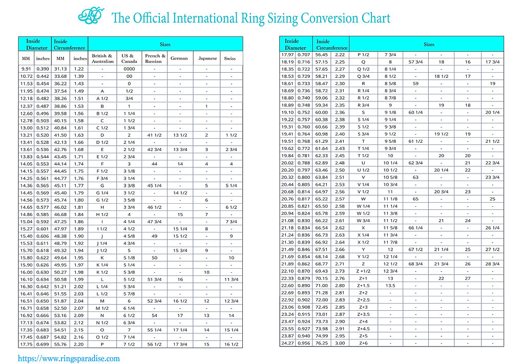 The OFFICIAL  Rings Sizing conversion Ch