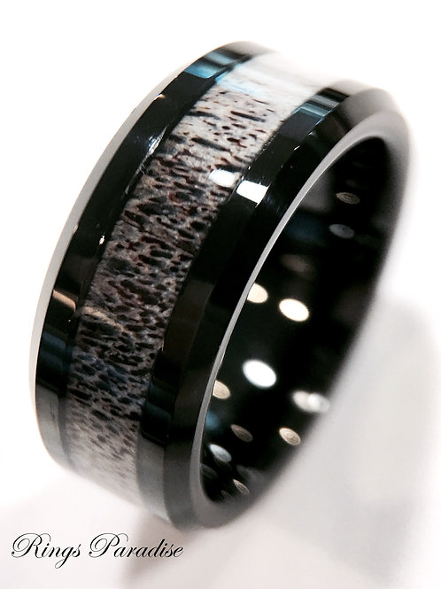 Real Antler Black Tungsten Ring, Antler Ring, Wedding Bands 8mm