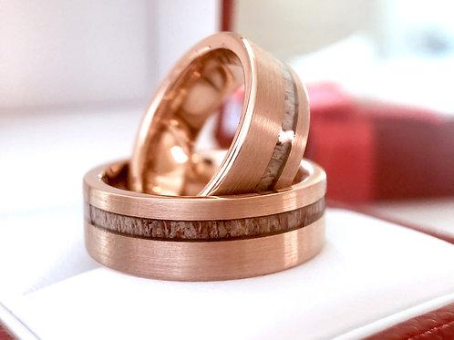 Antler Ring, Bride & Groom Rose Gold Brushed Tungsten Ring