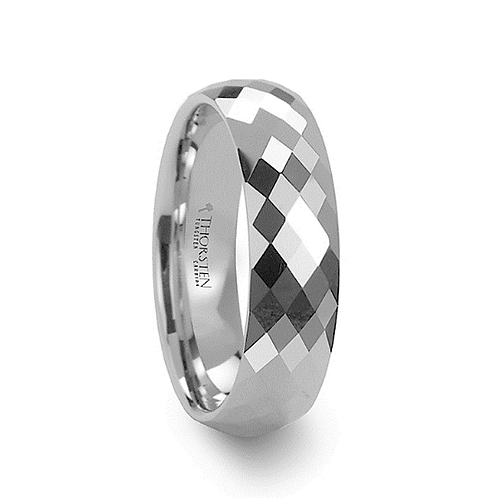 288 Diamond Faceted White Tungsten Ring 4mm-8mm