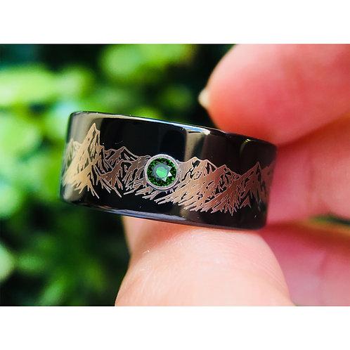 Mens Wedding Band, Mountains Ring, Mens Ring, Tungsten Ring, Emerald Stone, Wedding Band, Mens Wedding Band, Engagement Ring