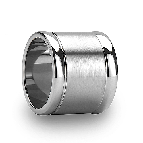 Flat Tungsten Carbide Ring, Polished Edges  20mm