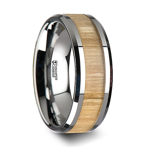 Tungsten Band, Ash Wood Inlay 6mm-8mm