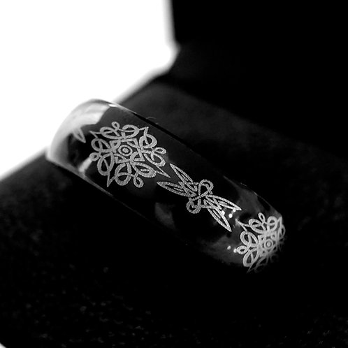 Celtic Ring, Mens Wedding Bands, Women Wedding Ring, Black Tungsten Carbide Ring by Rings Paradise , Custom Made Wedding Band