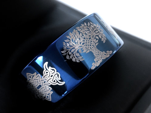 Celtic Ring, Tree of Life Pattern Engraved Blue Tungsten Carbide Ring, Mens Ring