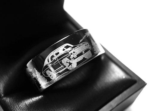 Mens Wedding Band Black, Mustang Car Engraved Ring, Mens Ring, Tungsten Ring