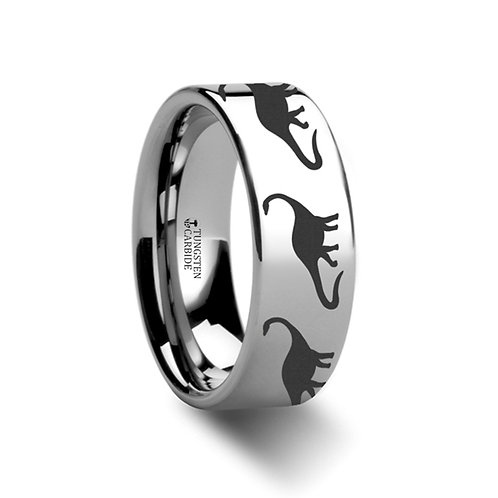 Dinosaur Brachiosaurus Ring, Tungsten Band