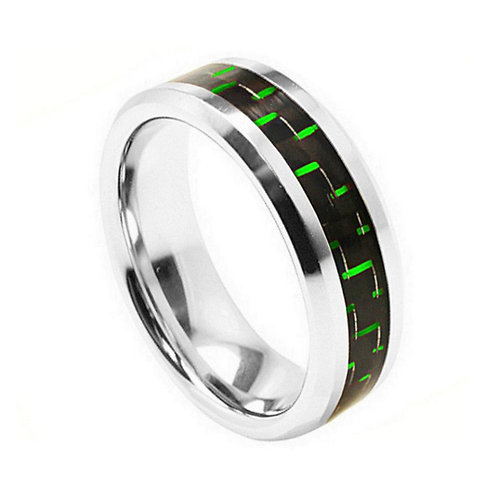 Cobalt Ring with Green Carbon Fiber Inlay 8mm