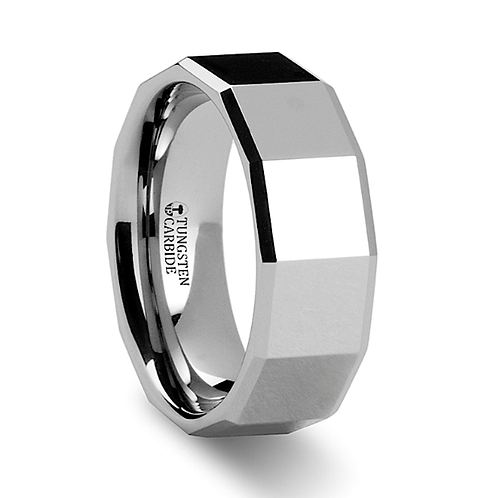 Tungsten Carbide Ring with Square Facets - 8 mm