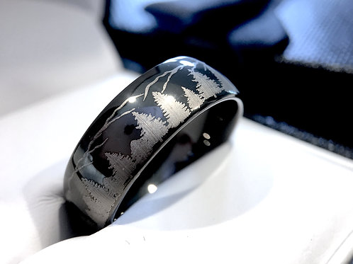 Wedding Bands, Fir Trees in Mountains Forest landscape Pattern Engraved Ring 8mm