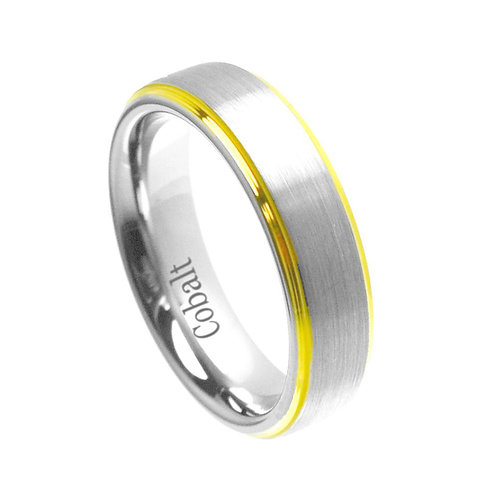 18K Yellow Gold  Plated Cobalt Ring 6mm