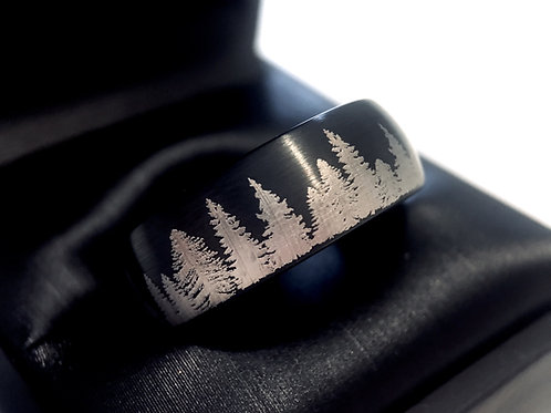 Fir Trees Ring, Ring Paradise, Wedding Bands, Black Tungsten Ring, Black Wedding Bands, Mens tungsten Ring, Engraved Ring