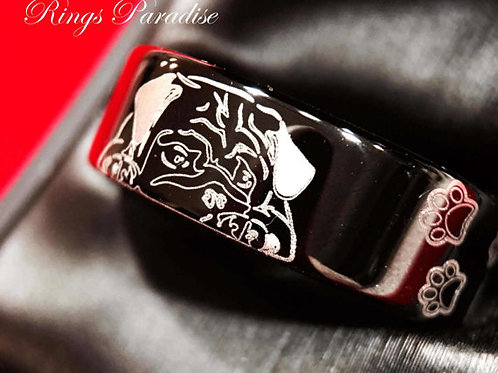 Black Tungsten Ring, Tungsten Bands,Cute Dog Foot Print Engraved Ring
