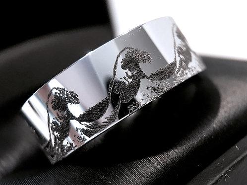 Ocean Wave White Tungsten Wedding Bands, Mens tungsten Ring