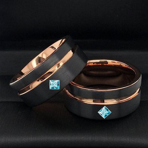 Square Aquamarine Stone Black and Rose Gold Tungsten Carbide Wedding Band Set
