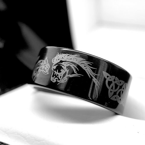 Wolf Facing Pattern Engraved Celtic Design Blue Ring, Mens Ring, Wedding Band