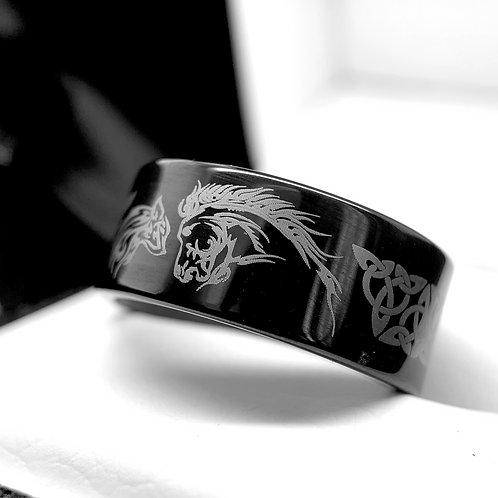 Horse & Wolf Facing Pattern Engraved Celtic Design Black Tungsten Carbide Ring