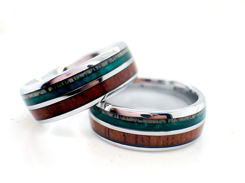 Antler Wood and Green Agate Tungsten Carbide Matching Rings Set, Couples Rings