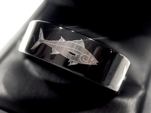 Tuna Ring, Black Tungsten Ring, Wedding Bands, Black Tungsten Ring