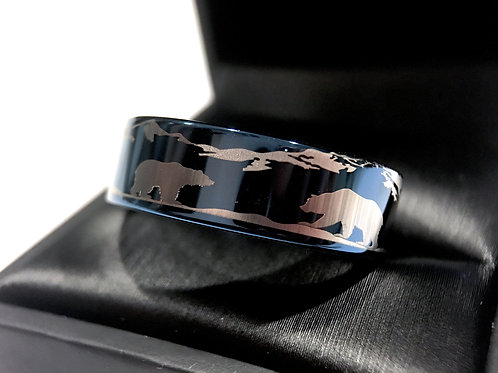 Bears in Mountain forest Landscape Engraved Tungsten Wedding Bands, Mens Tungsten Ring, Mountains Rings, Blue Wedding Bands,